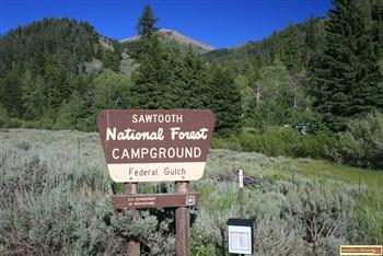Federal Gulch Campground on the East Fork of the Big Wood River near Sun Valley, Idaho.