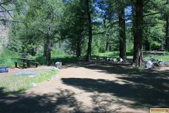 RV camping site in Flat Rock Campground on the Yankee Fork of the Salmon River.