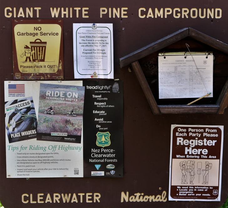 a picture of some of the information signs at Giant White Pine Campground.