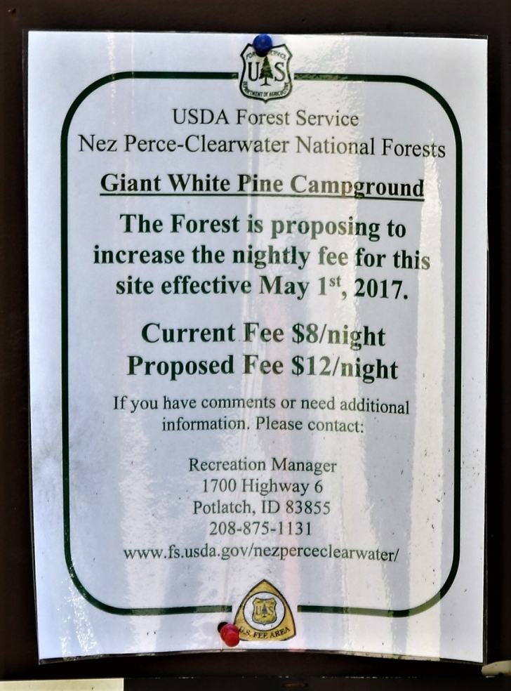 A picture of the campground fees sign (2017) for Giant White Pine Campground.
