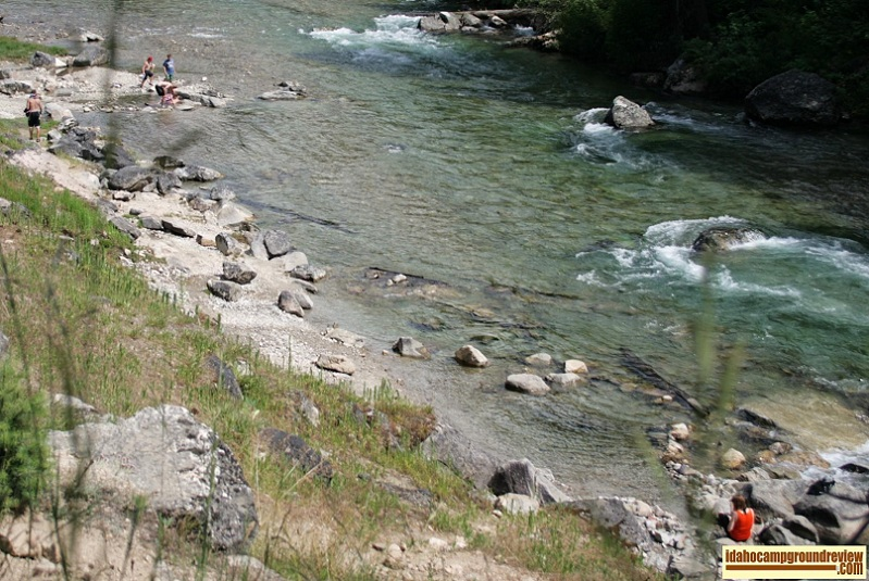Campers play in the South Fork of the Payette River near Grandjean Campground.