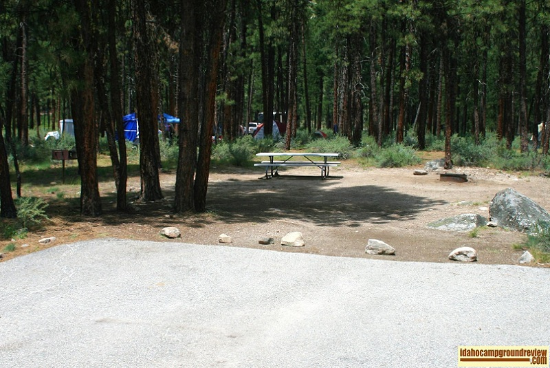 A typical rv camping site in Helende Campground near Lowman, Idaho
