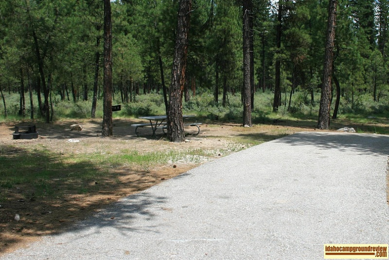 RV camp site in Helende Campground near Lowman, Idaho