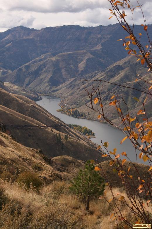 View of Hells Canyon Park in early fall from far above.