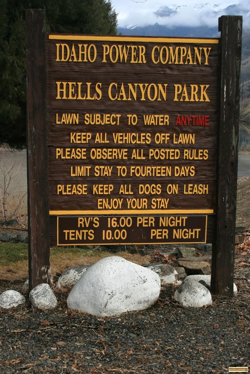 Hells Canyon Park Sign