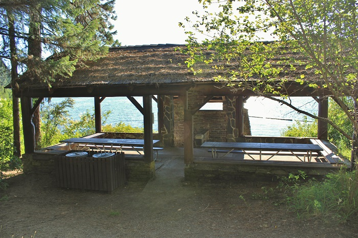 There are two over-sized picnic tables with a great view of the lake.
