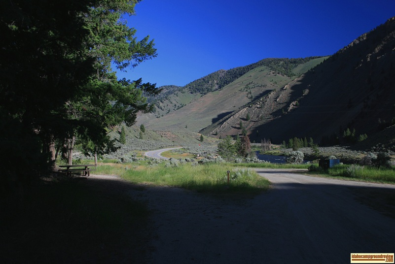 This is RV camping site #6 of Holman Creek Campground with a view of the Salmon River Valley.