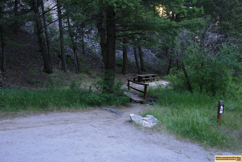 This is RV camping site #8 of Holman Creek Campground, which  is in a small valley.
