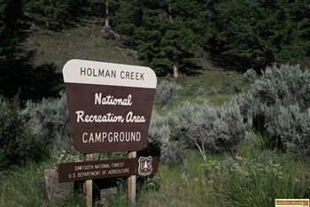 The sign at the entrance to Holman Creek Campground east of Stanley, Idaho along the Salmon River.