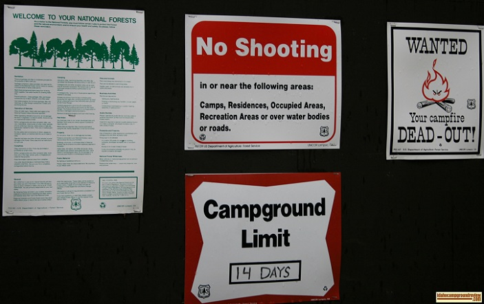 Information sign at Ice Springs Campground for those who love camping in Idaho.