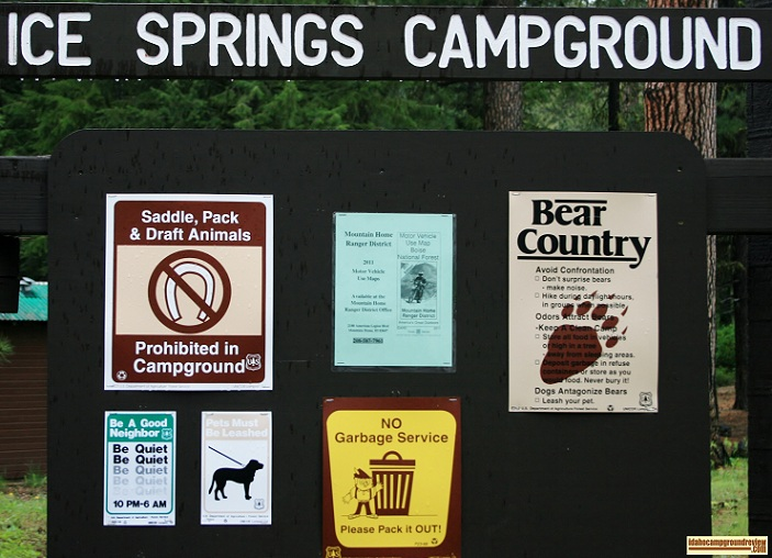 Ice Springs Campground north of Anderson Ranch Reservoir.