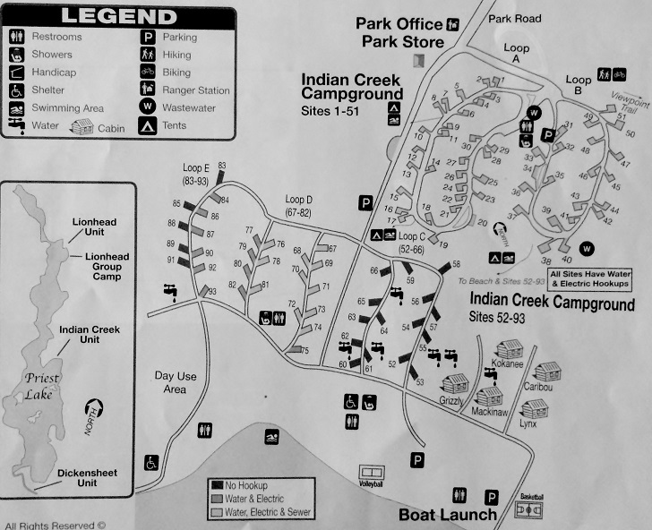 priest lake camping map Indian Creek Campground Northern Idaho Campsites Images And priest lake camping map