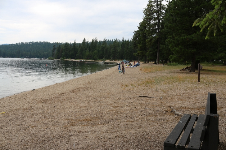 This view is from the boat launch area on a weekday morning. The picnic area is on the far end where the trees are.