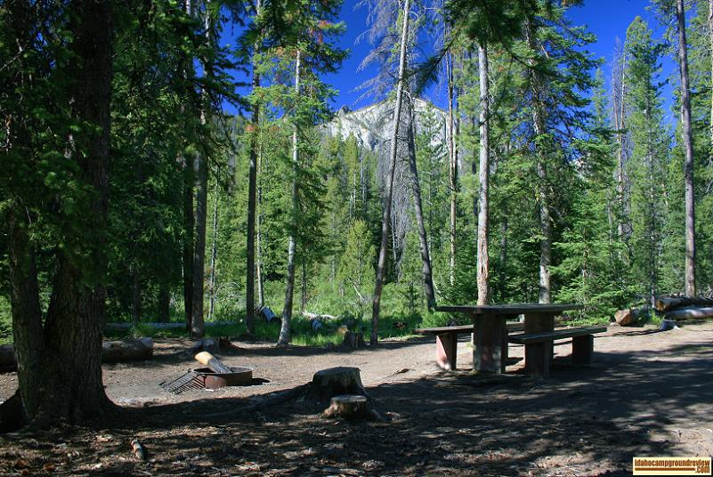 RV camping site inIron Creek Campground in the Sawtooth National Recreation Area.