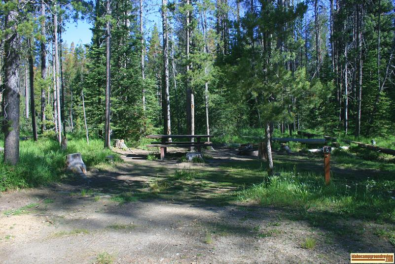RV camping site #6 in Iron Creek Campground in the Sawtooth National Recreation Area.