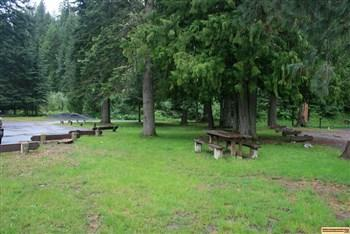 The picnic area in Laird Park Campground, one of two.