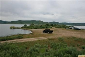 This a view of the main Little Camas Reservoir camping area.