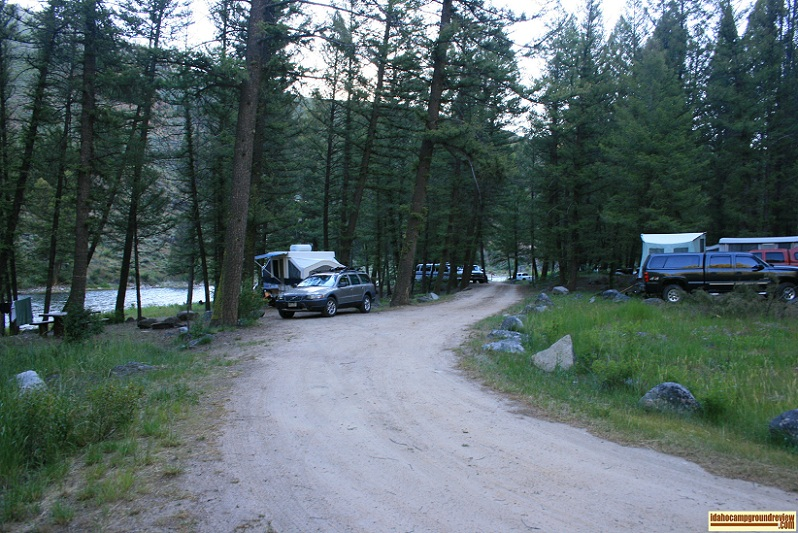 This is a view of Lower O'Brien Campground on the Salmon River.