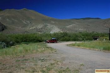This is a view of Morgan Creek Recreation Site which is north of Challis, Idaho.