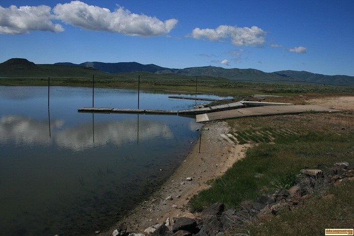 These are the docks and boat ramp at Mormon Reservoir.