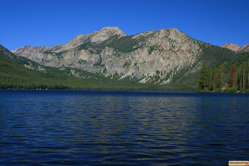 A picture of Pettit Lake and a portion of the Sawtooth Mountains.