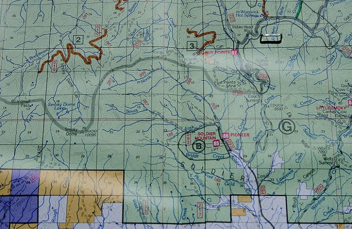 This map shows the area surrounding Pioneer Campground.