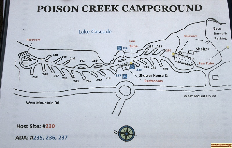 Poison Creek Campground map.
