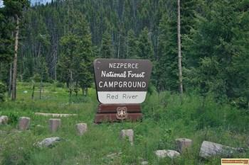 The entrance to Red River Campground near Elk City Idaho.