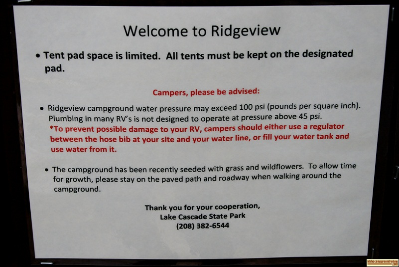 A warning about the high water pressure in Ridgeview Campground.
