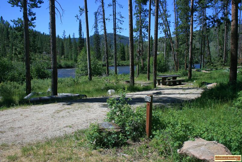 A camp site along the river in Riverside Campground NE of Stanley, Idaho.