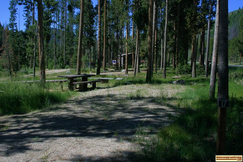 A camp site along Hwy 75 in Riverside Campground NE of Stanley, Idaho.