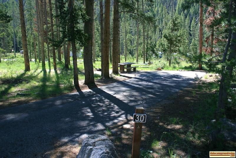 This view is of a site in the upper portion of Salmon River Campground NE of Stanley, Idaho.