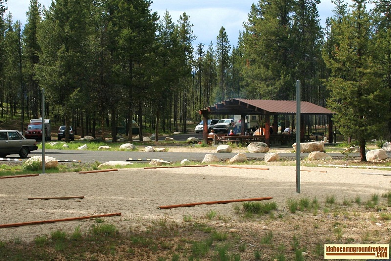 View of camping in Shoreline Campground group area