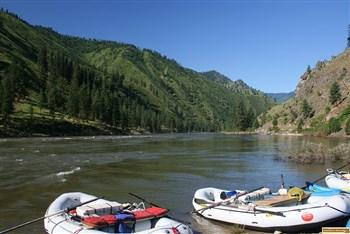 Two rafts ready to go down the Salmon River from Spring Bar