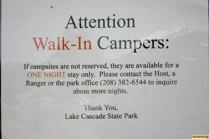 Sugarloaf Campground info sign.