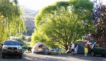 A picture of tent campers in Swiftwater RV Park.