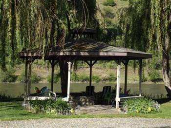 A picture of the gazebo along the Salmon River.