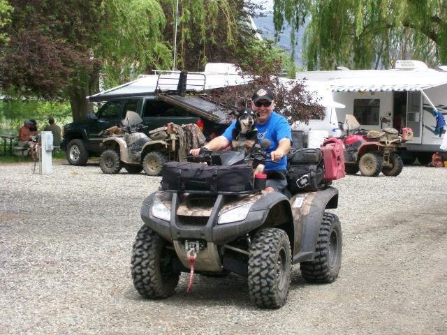 A picture of a happy camper on his 4-wheeler at Swiftwater RV Park.