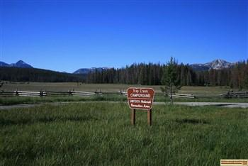 This is the view of the Sawtooth Mountains from Trap Creek Campground.
