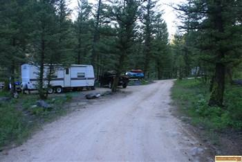 This is an RV camping site in Upper O'Brien Campground on the Salmon River NE of Stanley, Idaho.