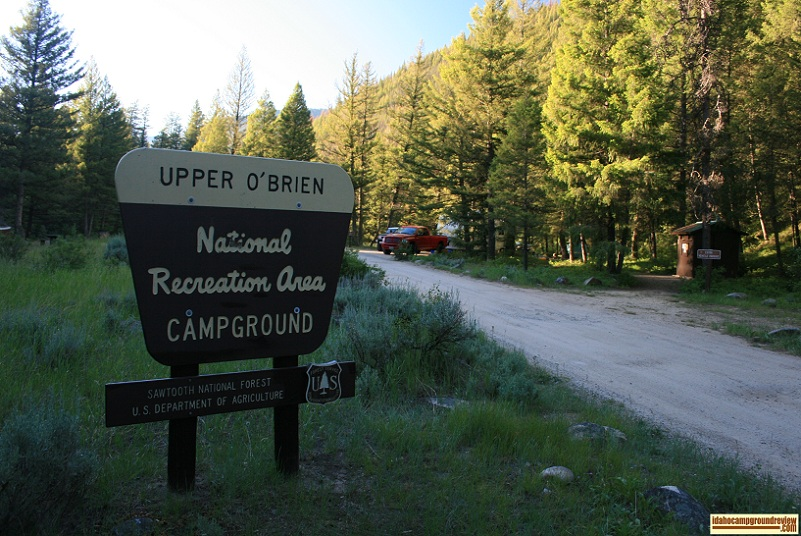 The sign at the entrance to Upper O'Brien Campground on the Salmon River NE of Stanley, Idaho.