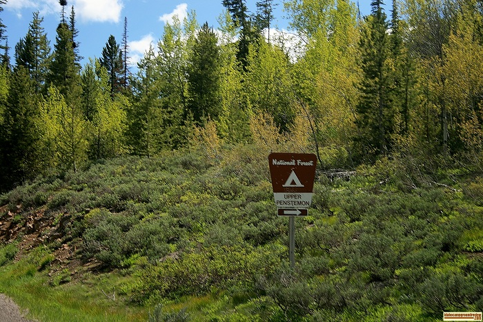 This is the sign marking the entrance to Upper Penstemon Campground.