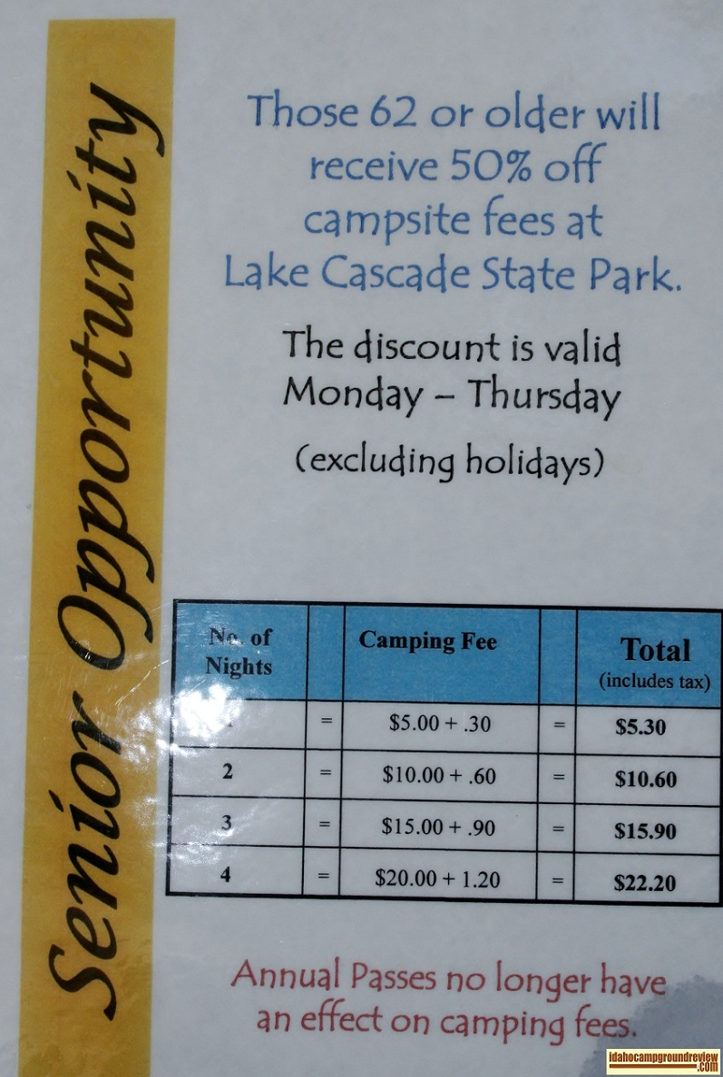 Seniors camp for half price in Van Wyck Campground.