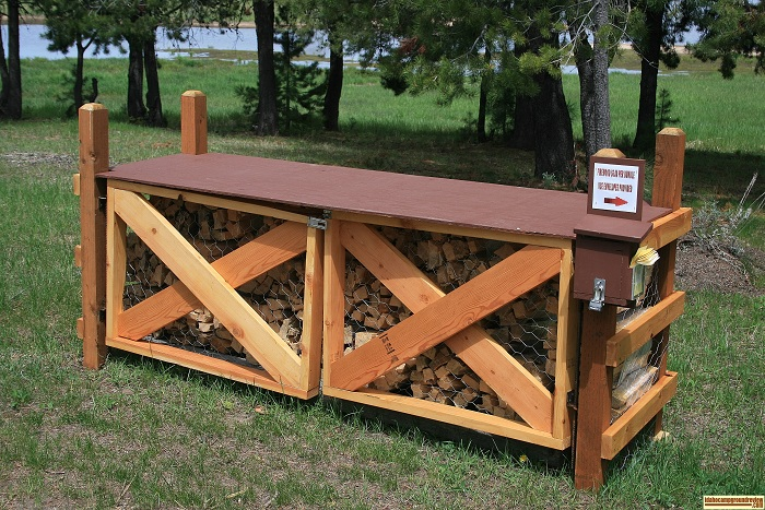 A picture of the firewood stand in West Mountain Campground