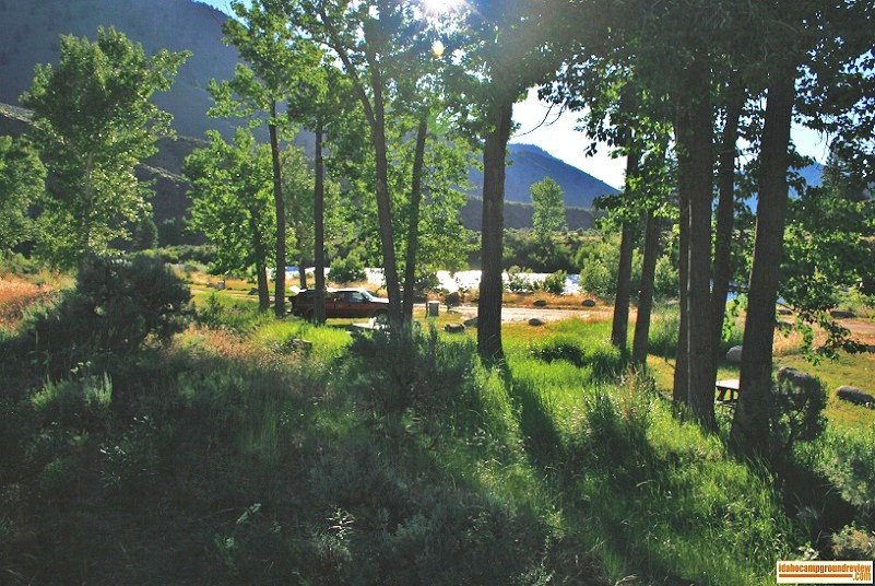 View of a couple camp sites at Whiskey Flats Campground.