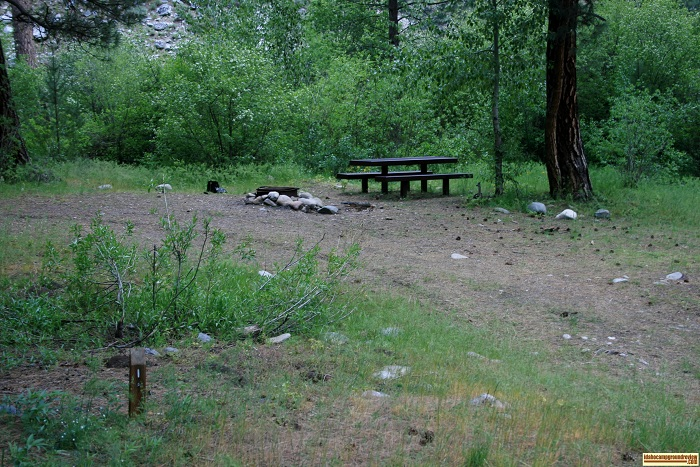 This is campsite #1 in Willow Creek Campground in the Sawtooth National Forest.