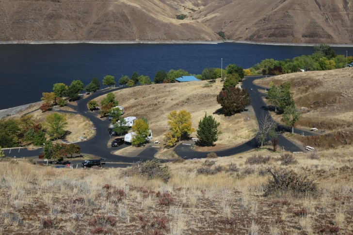 A picture of Loop D from the trail on a hill above the Woodhead Park.