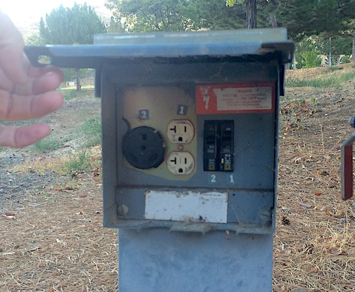 A close up picture of the power hookups in Woodhead Park.