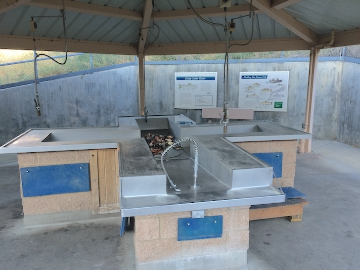 A picture of the fish cleaning station at the boat launch in Woodhead Park.
