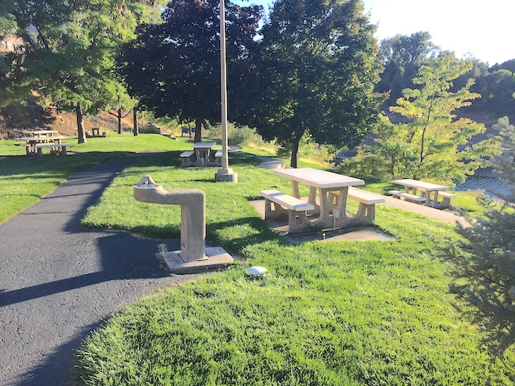 A picture of the picnic area near the boat launch in Woodhead Park.